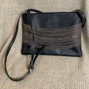Sondra Roberts Squared Zipper Crossbody Clutch